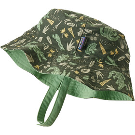 Patagonia Sun Bucket Hat Kinderen, alligators and bullfrogs/kale green